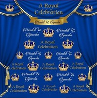 custom Royal Blur And Gold Curtains Crown photography backgrounds High quality Computer print wedding backdrops