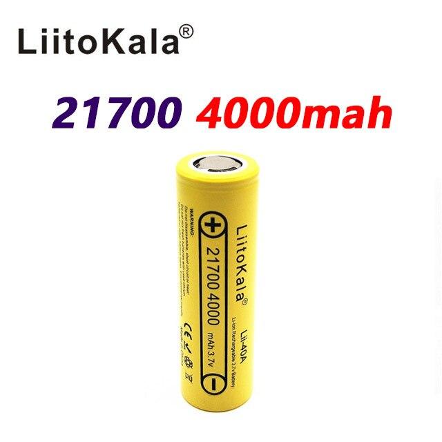 LiitoKala Lii 40A 21700 4000mah Li Ni סוללה 3.7V 40A 3.7V 30A כוח 5C קצב פריקה
