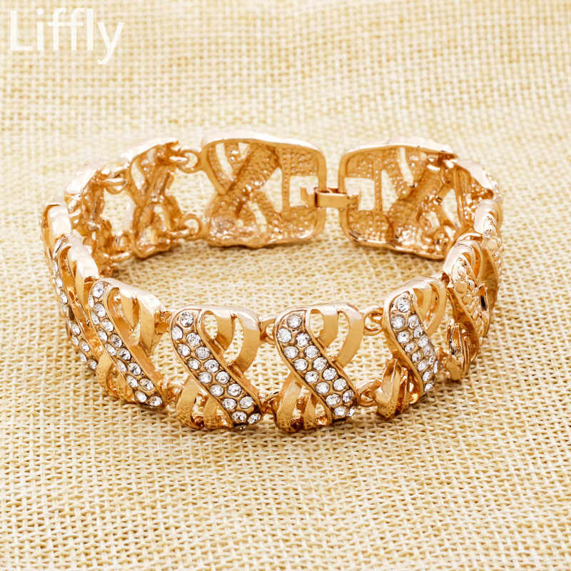 Liffly Африканский набор ювелирных украшений для невесты свадебные в нигерийском стиле комплекты украшений для женщин Дубай золото цвет цепочки и ожерелья серьги бижутерия