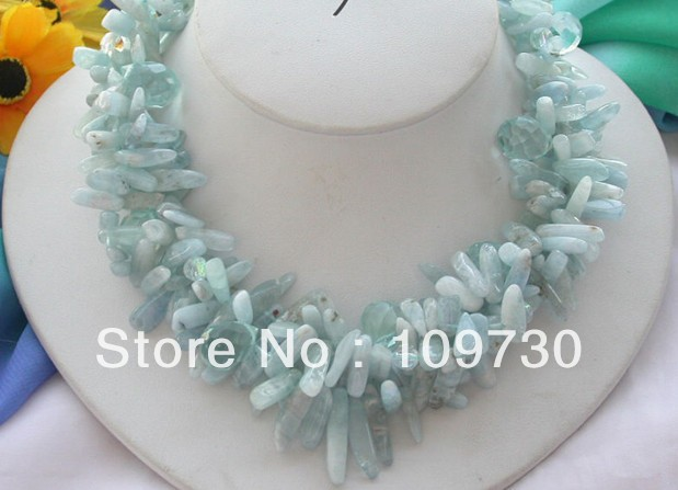 Jewelry 0012246 3row 17 Aquamarin stick drip faceted crystal necklace