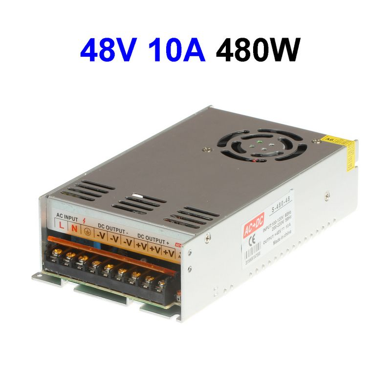 5pcs DC48V 10A 480W Switching Power Supply Adapter Driver Transformer For LED Display LED Modules dc power supply 36v 9 7a 350w led driver transformer 110v 240v ac to dc36v power adapter for strip lamp cnc cctv