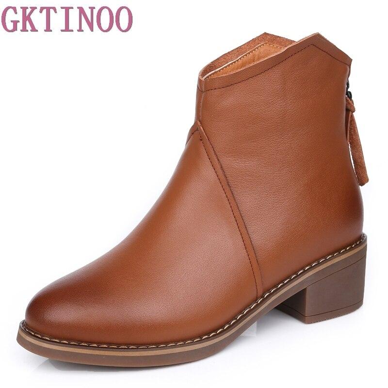 GKTINOO/женские ботильоны из натуральной кожи, винтажные женские Ботинки martin на молнии, женские зимние ботинки на высоком каблуке, теплые плюше...