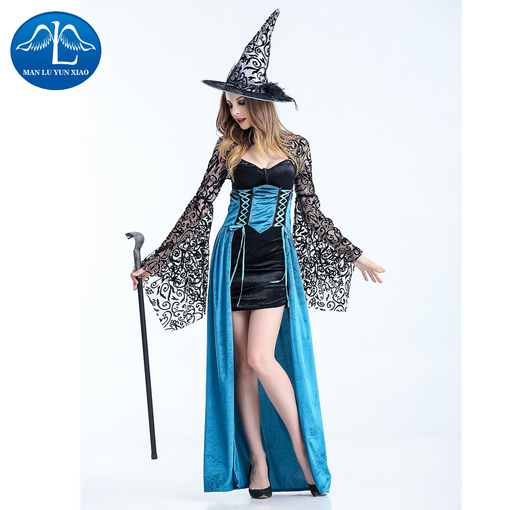 MANLUYUNXIAO 2017 Sexy women Witch Costume Deluxe Adult Womens Magic Moment Costume Adult Witch Halloween Fancy Dress
