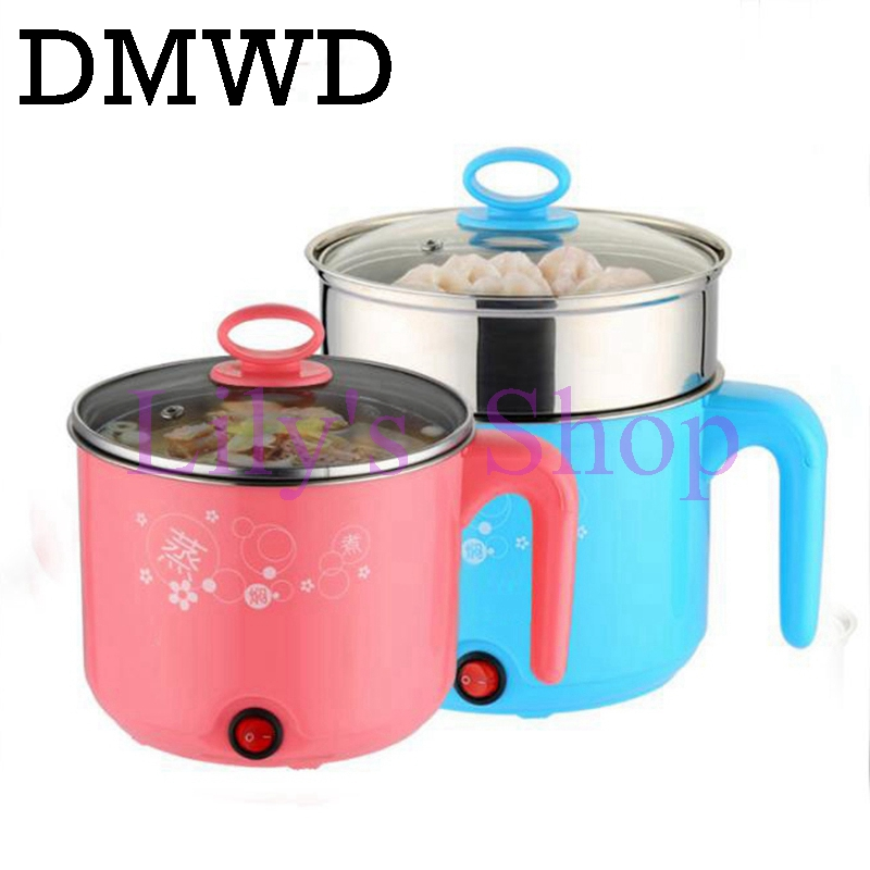 DMWD Household multifunction Electric Skillet cooking pot hotpot breakfast cooker Mini kettle pan steamer heater 2 Layers EU US dmwd 110v multifunction electric skillet stainless steel hot pot noodles rice cooker steamed egg soup pot mini heating pan