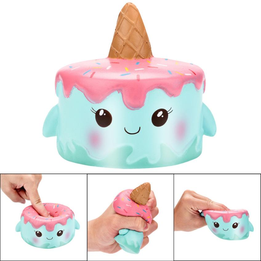 Kawaii Jumbo Cartoon Cake Squishy Slow Rising Cream Scented Stress Reliever PU Galaxy Cute Gift Toys Stress Relief Reliever