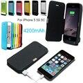 4200 mAh power bank pacote Carregador Portátil de Backup Externo Caixa de Bateria Para iPhoneSE 5 5S 5c se com vidro Temperado linha de cabo USB