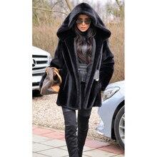 TOPFUR 2019 Luxury Black Mink Fur Fashion Jacket  Casual Solid Coat Women New Plus Size Full Pelt Long