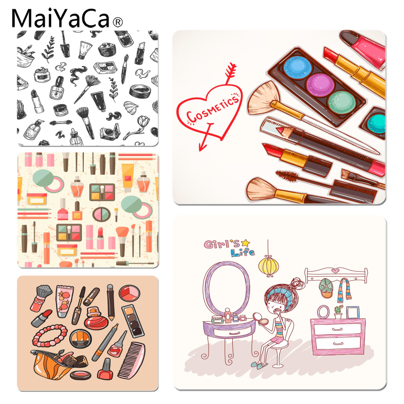 MaiYaCa New Printed Make Up Girl Life DIY Design Pattern Game mousepad Size for 18x22cm 25x29cm Small Mousepad