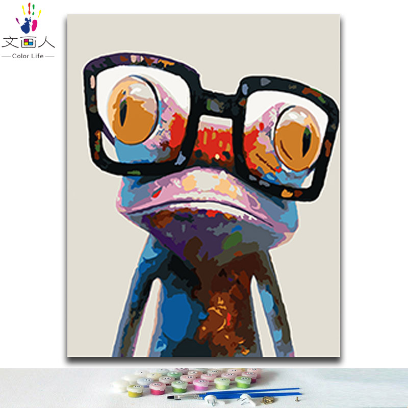 DIY Coloring paints by numbers cool frog colorful animals pictures paintings by numbers with kits with diy frame 40x50 for kidsDIY Coloring paints by numbers cool frog colorful animals pictures paintings by numbers with kits with diy frame 40x50 for kids