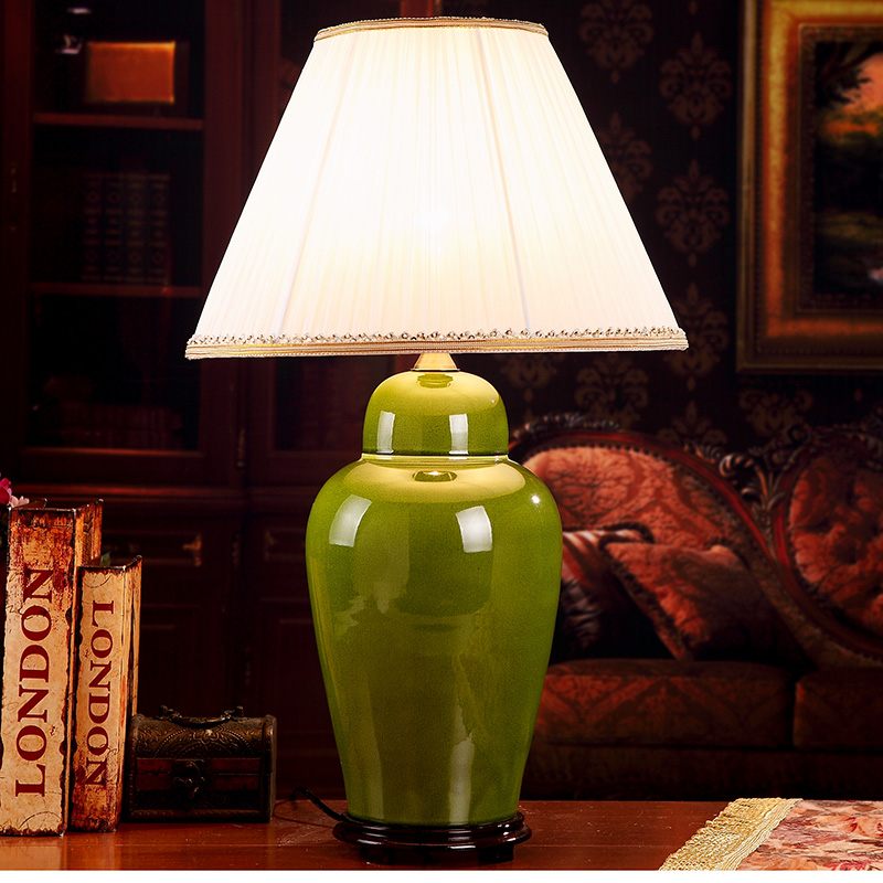 Green china antique living room vintage table lamp - Porcelain table lamps for living room ...