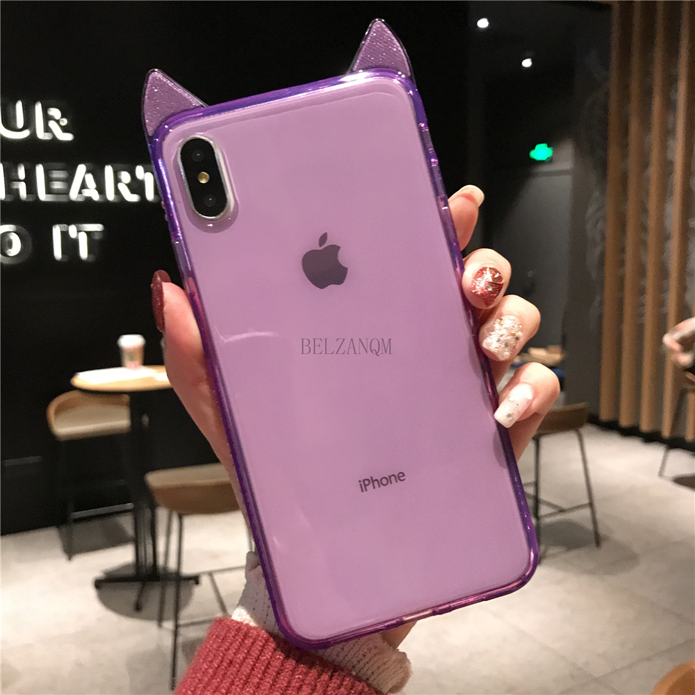 Phone Cases For iPhone 6 6s 7 8 Plus Luxury Bling Diamond Cute Cat Ears Clear Soft TPU Coque For iPhone X Xs Max XR Cover Fundas _11