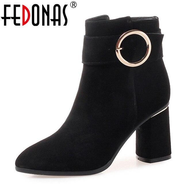 FEDONAS Da Thật Chính Hãng Da Bò Da Lộn Nữ Giày nữ Giày PUNK ROCK Nền Tảng Ấm Giày Người Phụ Nữ Đi Xe Máy Mắt Cá Chân Giày