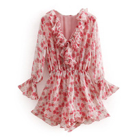 Women Red Floral Pattern Chiffon Playsuits Pleated Design Long Sleeve Rompers Jumpsuits FFZLT7