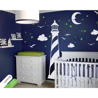 POOMOO Wall Decals Vinyl Wall Decal Lighthouse Moon Stars Clouds Wall Sticker Childrens Room Nursery Decor Stickers 250X208cm