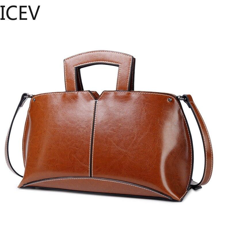 ICEV nouvelle mode coréenne Vintage femmes sacs à main en cuir vache Split Shell sacs sacs à main femmes marques célèbres dames Sac à bandoulière Sac