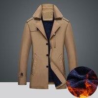 İngiltere Stil Erkekler Sıcak Ceket Kış Zarif Eğlence Akıllı Polar Yastıklı Palto Kadife Boy Rüzgarlık Ceket Artı Boyutu