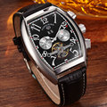 2016 Luxury Tonneau Dial Mechanical Watches Mens Multifunction Calendar Genuine Leather Full Steel Fashion Mens Sport Watches