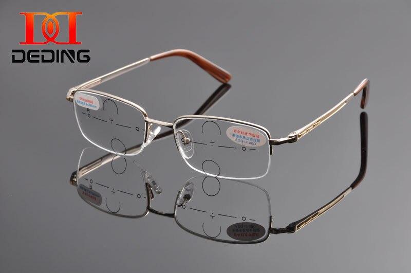 Deding homens cavalheiro de Metal meia armação de lentes multifocais  progressivas óculos de leitura óculos de 0c4f6a2a84
