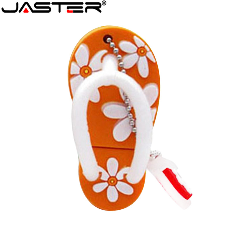 JASTER Fashion hot selling creative U Disk 2 0 64GB 32GB 16GB 8GB 4GB cartoon Flower slippers real capacity USB flash drive in USB Flash Drives from Computer Office
