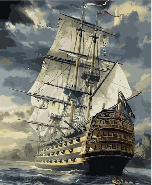 Bajak Laut Kapal Perang Lukisan Kaligrafi Diy Digital Gambar