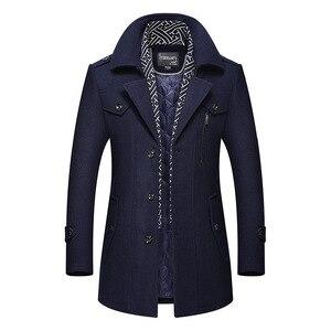 Image 2 - Bolubao masculino casaco de lã de inverno moda masculina gola virada para baixo quente mistura de lã grossa casaco de ervilha masculino trench coat