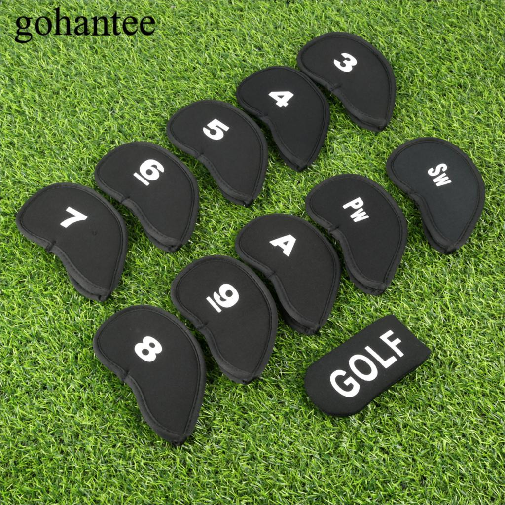 Lots 11 Pcs/Set Black Golf Head Cover Fit Iron Golf Club Head Neoprene Golf Headcovers Protect Set With Printed Numbers Outdoor