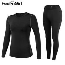 f7118b990737 Feelingirl Women Winter Long Johns Slimming Sweat Quick-drying Stretch  Compression Fleece Shaped Thermal Underwear