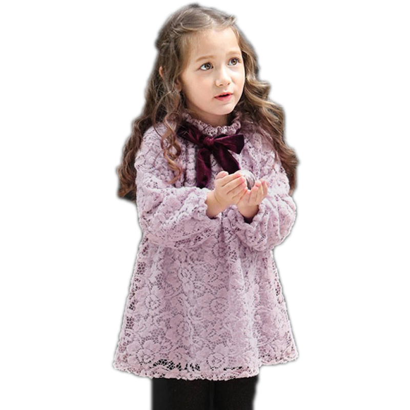 Children Costumes For Girls 2017 New Winter Girls Princess Dress Long Sleeve Thicken Warm Kids Costume Cute Lace Girls Dresses acthink 2017 new girls formal solid lace dress shirt brand princess style long sleeve t shirts for girls children clothing mc029