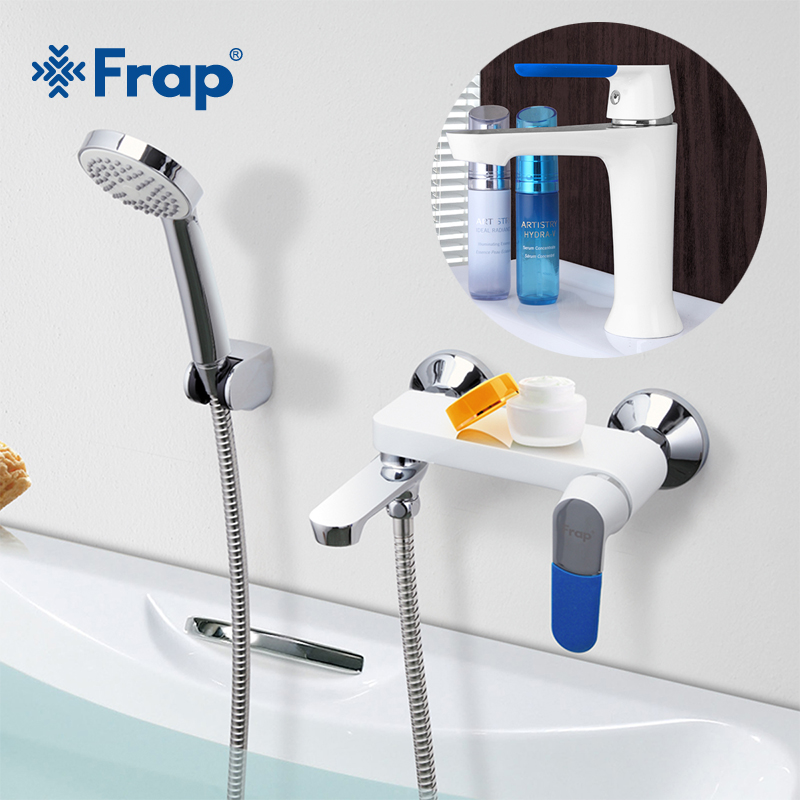 FRAP 1set bathroom fixture waterfall bath shower faucets with Basin Faucet  tap set bathtub rain shower faucet mixer f1034+f3234 fie new shower faucet set bathroom faucet chrome finish mixer tap handheld shower basin faucet