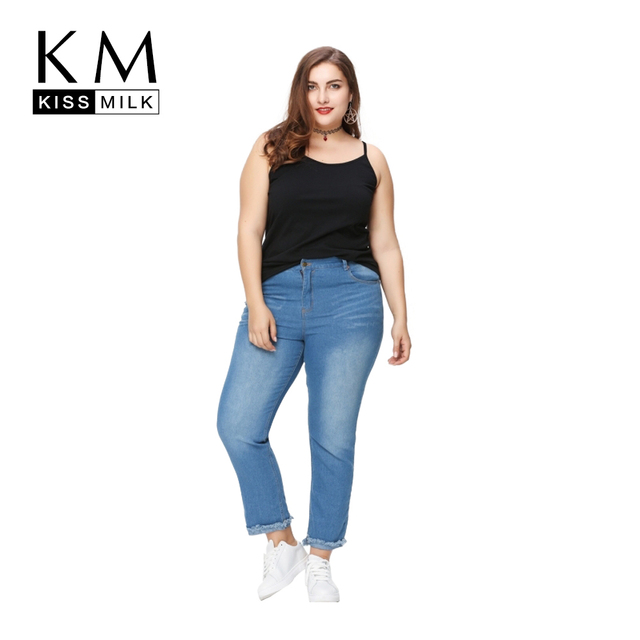 971a79c34bbbd Kissmilk Plus Size Simple Skinny Jeans Women Denim Trousers Hole Casual  Holiday Slim Fit Pants 3XL