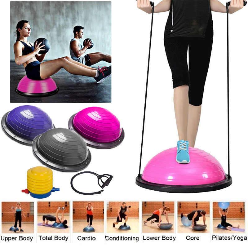 2ad80e5ef 58cm Yoga Balance Ball Gym Workout Ball Pilates Half Yoga Ball Exercises  Training Fitball With Strings
