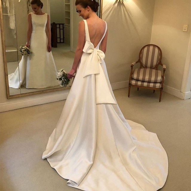 Cheapest Boho A-line Jewel Backless Wedding Dress Chapel Train Satin Bridal Dress Bow On Back Country Wedding Bride Dresses 2