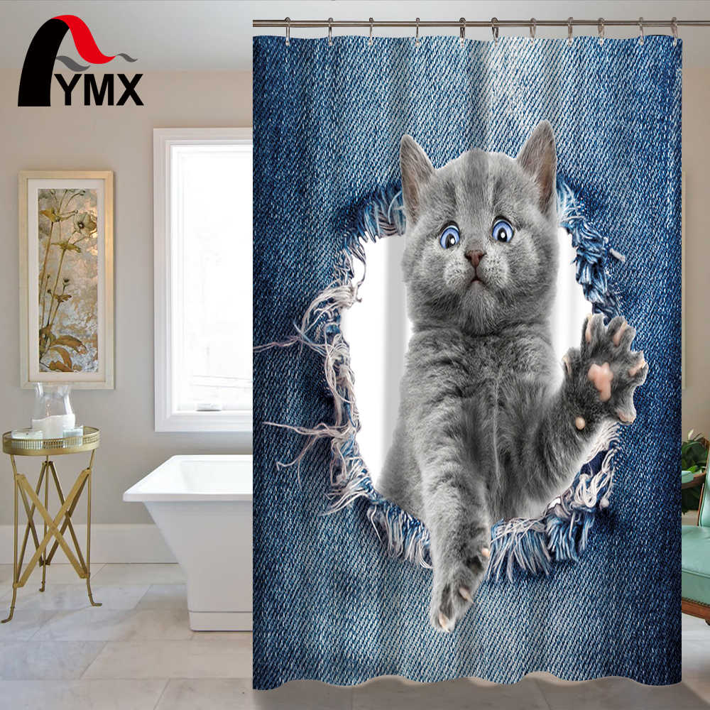 Cute Cartoon Animal Shower Curtain 150X180/180CM Dogs Cats Curtain RU Waterproof Polyester Fabric Printing Bathroom Accessory