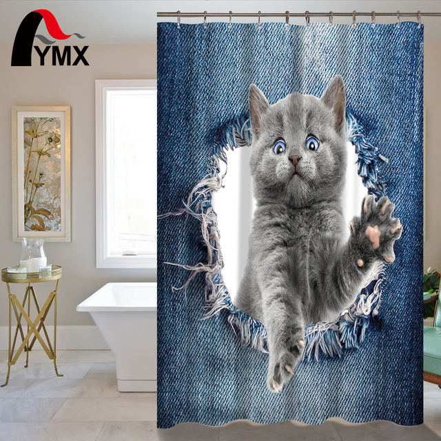 Cute Cartoon Animal Shower Curtain 150X180 180CM Dogs Cats RU Waterproof Polyester Fabric Printing