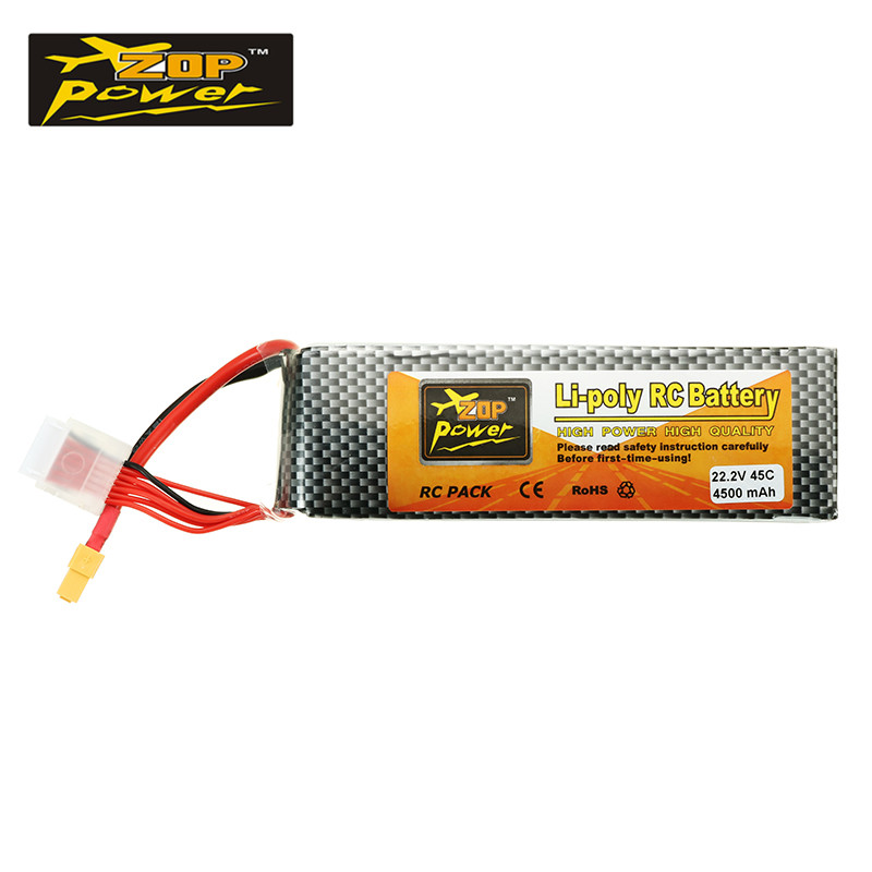 ZOP Power 22.2V 4500mah 45C 6S Lipo Battery XT60 Plug for ALZRC 505 RC Helicopter Car Boat Quadcopter Toys Racing Parts helios 22 2v 1800mah 6s 55c xt60 plug rechargeable lipo battery for alzrc devil 380 420 480 align 470 helicopter spare parts