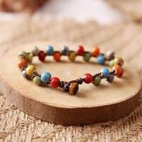 Art Small Objects Retro Color Ceramic Bracelet Sen Female Porcelain Pottery Bead Bracelets Buckle Bohemia