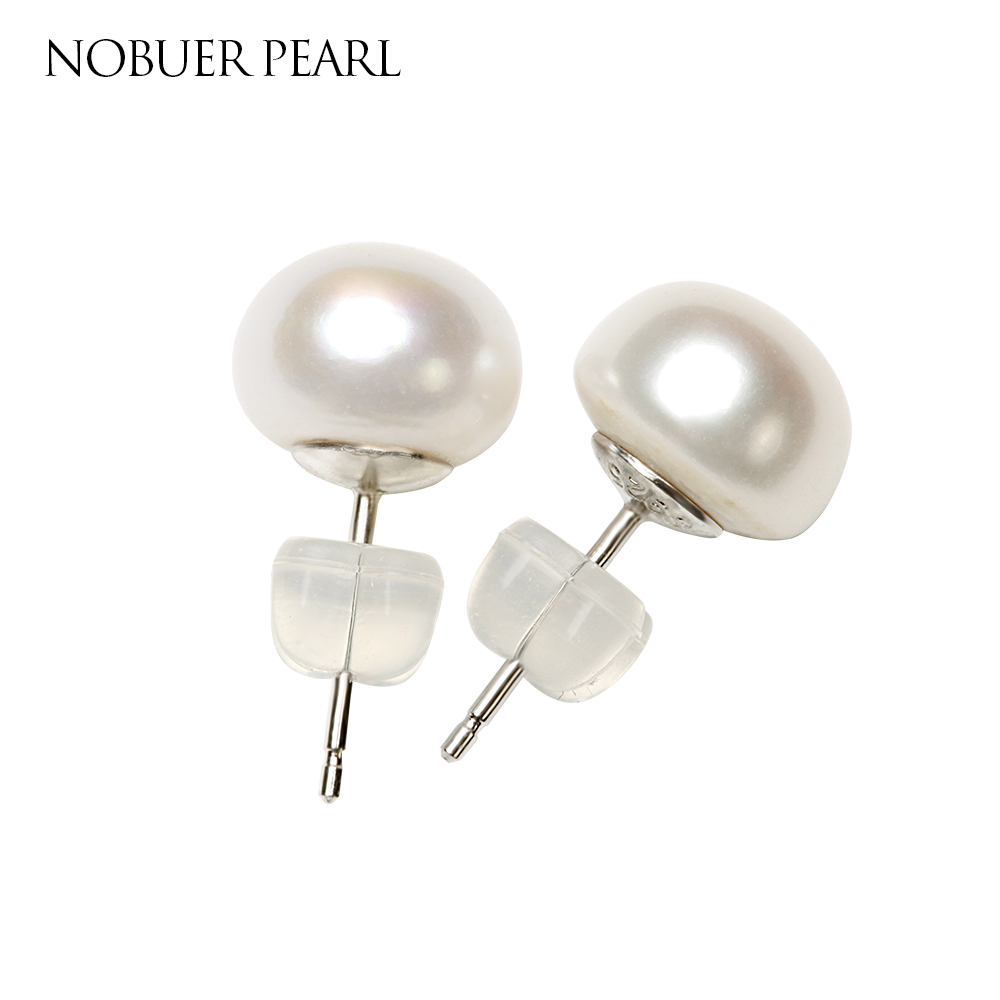 Nobuer Pearl Earring S925 Sterling Silver Stud Earrings With Pearls For Women and Girls Jewelry 7-10mm 4 Colors Pearls To Choose free shipping imitation pearls chain flatback resin material half pearls chain many styles to choose one roll per lot