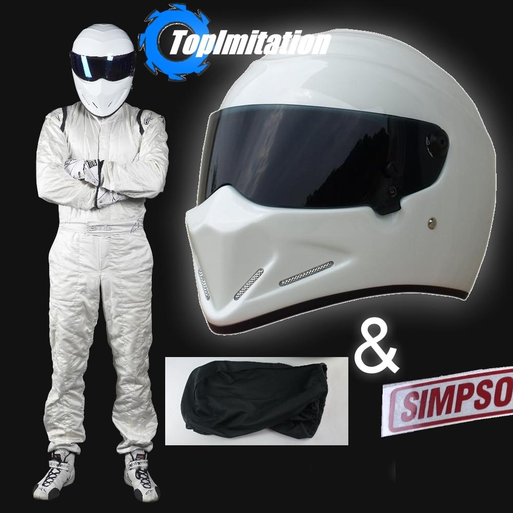 Top Gear The Stig Helmet Motorcycle Motorbike Carting White Color Black Visor Helmet SIMPSON Sticker Racing