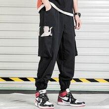 Мужские хлопковые штаны для бега с принтом, весна-осень, мужские повседневные эластичные мешковатые брюки для фитнеса, мужские флисовые штаны в китайском стиле