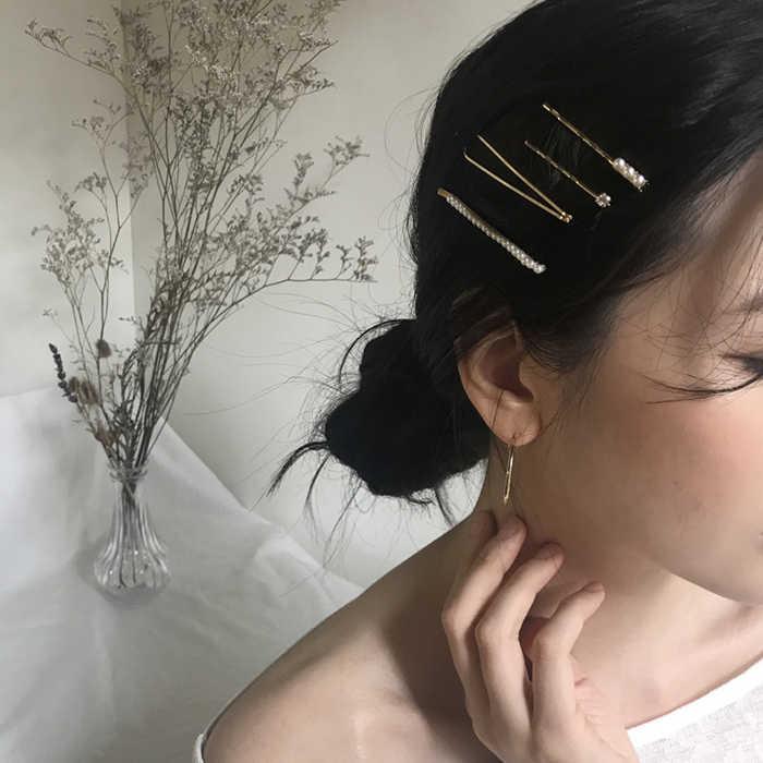 AOMU 1 סט מינימליסטי מתכת גיאומטרי זהב סיכת שיער אביזרי Imitiation פרל שיער קליפים עבור נשים בנות שיער תכשיטים