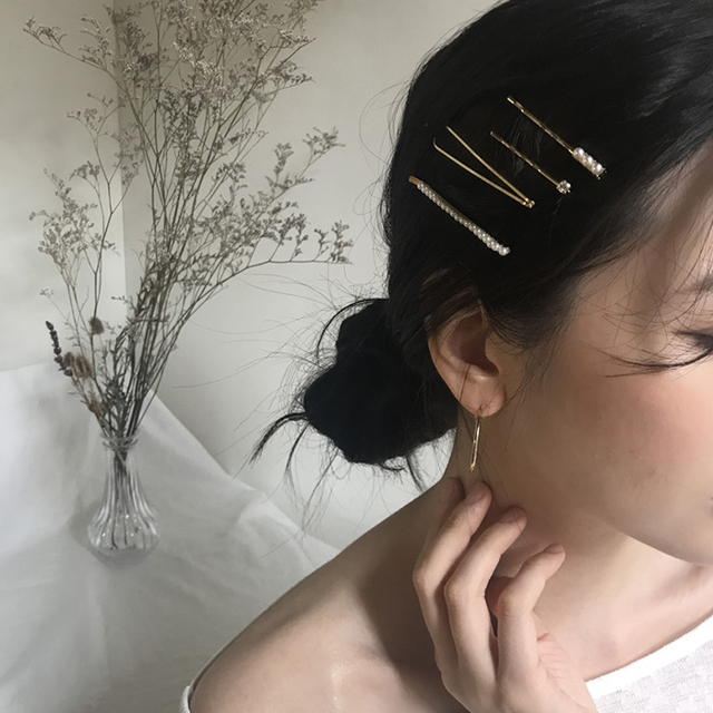 AOMU 1SET Metal Minimalist Hair Accessories Geometric Irregular Gold Color Hair Clip Imitiation Pearl Hairpin Barrettes Hairgrip