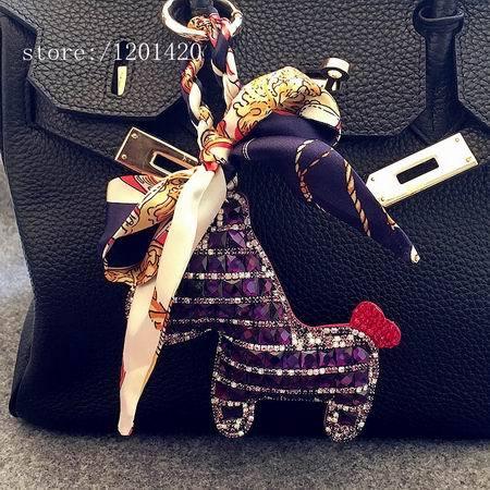 Silk Bow Rhinestone Horse Women Bag Pendants Accessories Handbag Charm Glitter Bling Keychains