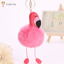YimYik 1pcs Fur Fluffy Flamingo Key Rings Pendant Fashion Jewelry Bags Hang Pendant Car Accessories for women gifts