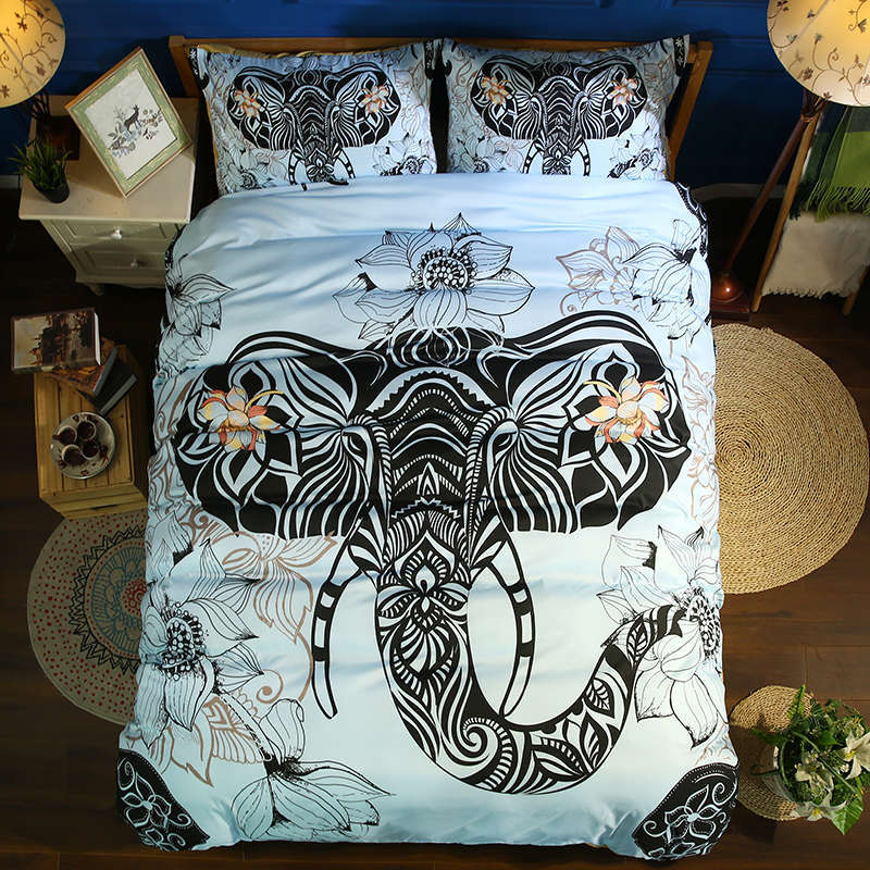 lotus print bedding set 3pcs elephant pattern duvet cover bohemia style kids adult home textile twin full queen king size giftlotus print bedding set 3pcs elephant pattern duvet cover bohemia style kids adult home textile twin full queen king size gift