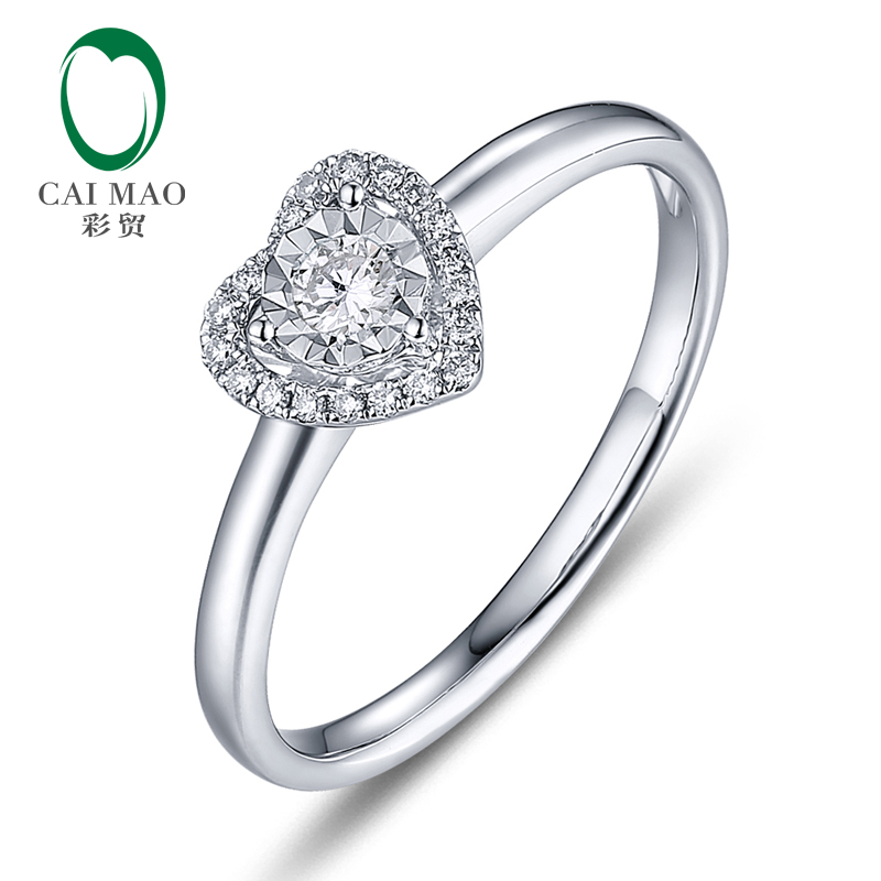 Caimao 14K White Gold 0.12ctw Natural GH VS Brilliant Cut Diamond Engagement Ring Jewelry caimao 0 18ct natural round f vs diamond 14k white gold engagement wedding ring