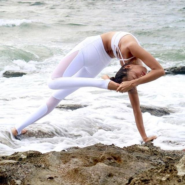 Oyoo High Rise Tummy Control Flexible Maille Côte De Yoga Leggings Femmes  de Noir workout Collants 1ccb2eb4825