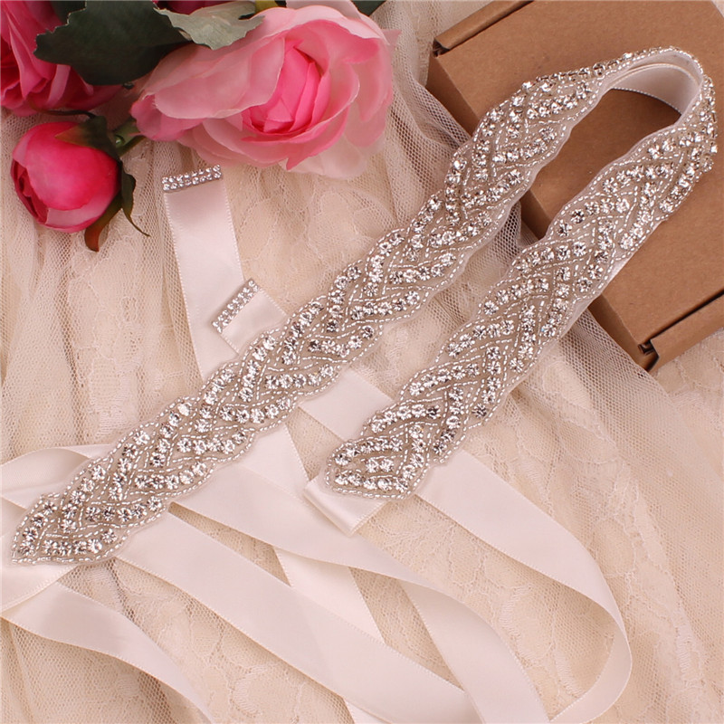 YJWSXF Pure Handmade Bride Wedding Dress Dinner Crystal Rhinestone Belt Girdle