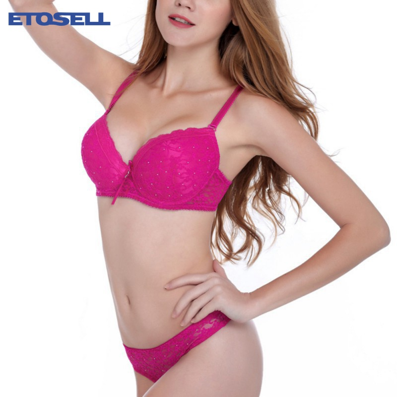 ETOSELL Lace Drill Diamond   Bra     Set   Women Plus Size Push Up Underwear   Set     Bra   And Thong   Set   75B~90C Cup Available
