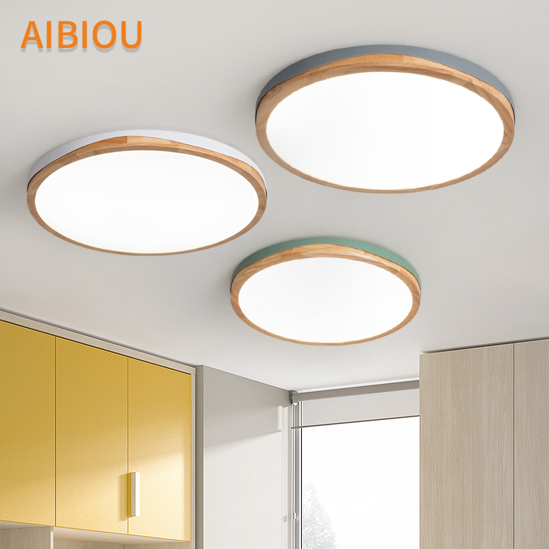 AIBIOU Wooden LED Ceiling Lights For Living Room Round Surface Mounted Bedroom Luminaire Metal Frame Ceiling Lighting Fixtures
