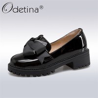 Odetina 2018 New Fashion Women Patent Leather Pumps Bowknot Slip On Platform Sweet Shoes Square High Heels Pump Shoe Big Size 43